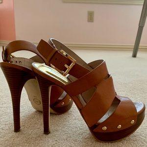 Michael Kors Tan Leather Platform Heel Sandal